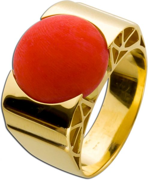 Antiker Ring Gelbgold 750 rot-orangene Koralle