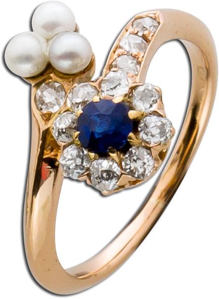 Antiker Ring Rosègold 585 blauer Saphir...