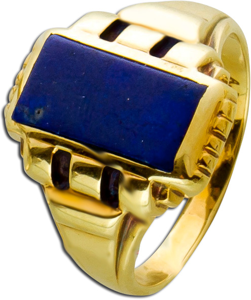 Antiker Ring Gelbgold 585 blauer Lapislazuli poliert Ringgröße 16mm