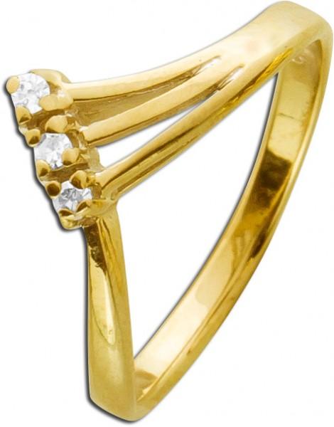 Antiker Ring Diamanten Gelbgold 585 Dame...