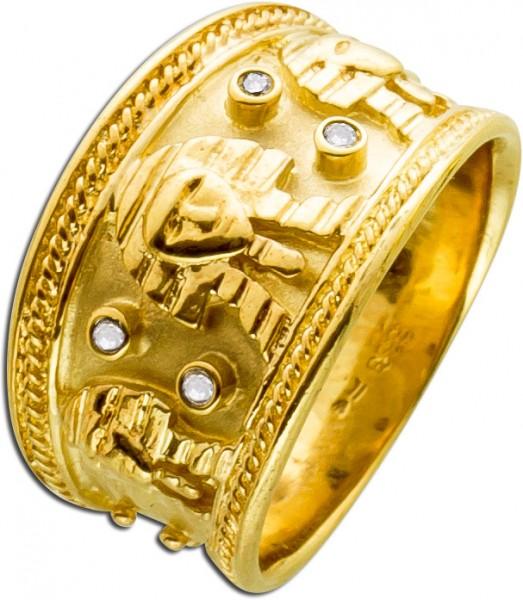 Antiker Ring Gelbgold 333 Diamanten ägy...