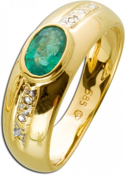 Diamant Ring Gelbgold 585 grüner Smarag...