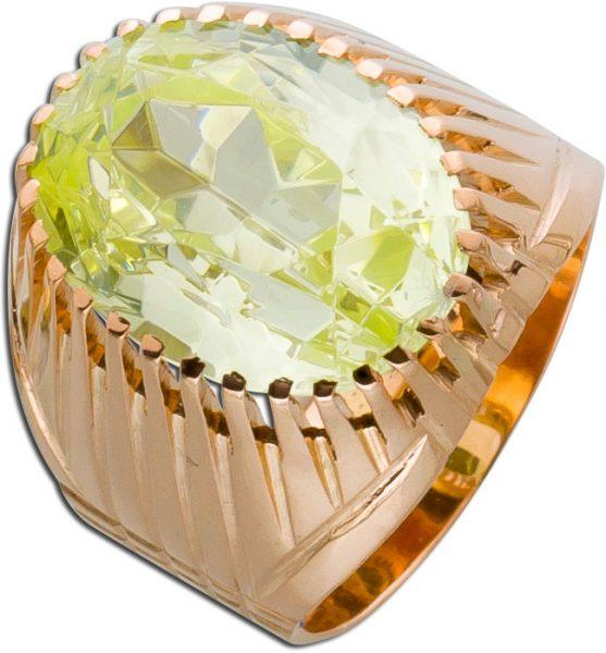Antiker Ring Rosegold 583 Heliodor Damenring