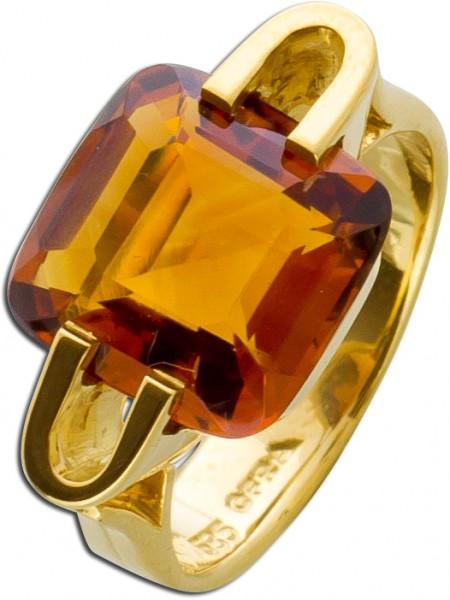 Antiker Citrin Ring Gelbgold 585 honiggelb
