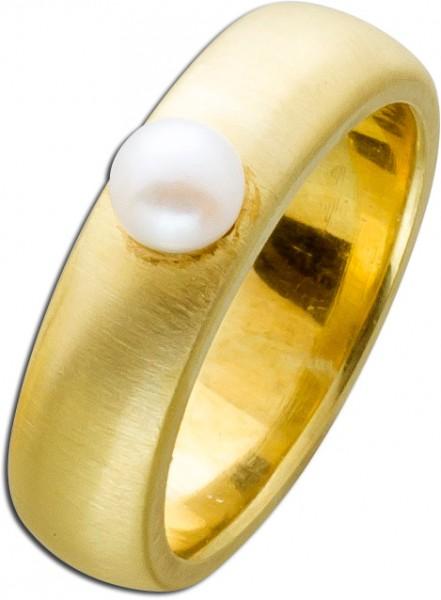 Designerring / Akoyaperlring Gelbgold 585 aus der Manufaktur SIM schlicht klassisch feinste Japanische Akoyazuchtperle