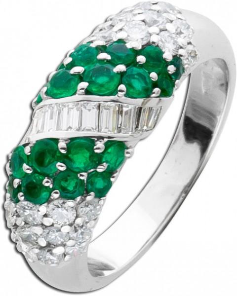 Brillantring Smaragdring 750 WG 49 Brill...