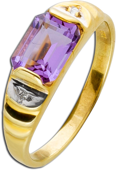 Amethyst Ring Gelbgold 333 lilafarbener ...