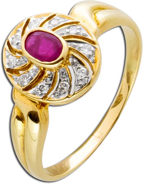 Rubinring Diamant Ring Gelbgold Weißgold 585 roter Rubin funkelnde Brillanten Einzelstück