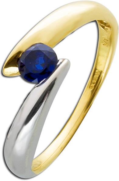 Saphir Ring Gelbgold 333 nachtblauer Sap...