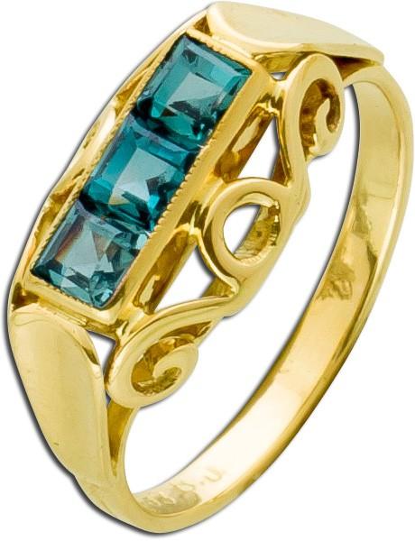 Antiker Turmalin Ring um 1900 Gelbgold 3...