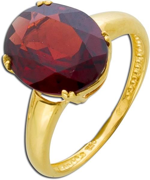 Granat Edelsteinring Gelbgold 750 rotbra...