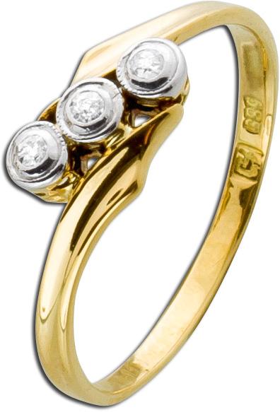 Antiker Diamantring um 1900 Gelbgold 585...