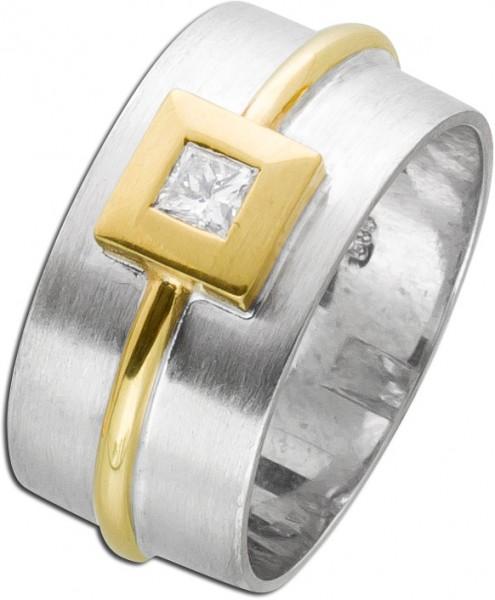 Diamantring Weißgold Gelbgold 585 Solit...