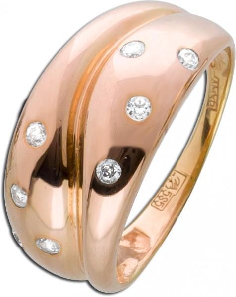 Ring Brillantlook Rosegold 585 weiße Zi...
