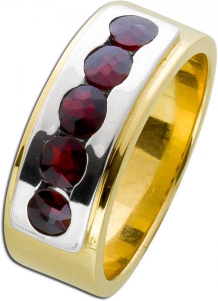 Antiker Granatring Gelbgold Weißgold 585 dunkelrot facettierte Granatsteine 50er Jahre massiv gefertigt Einzelstück