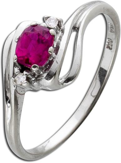 Antiker Rubin Diamantring 50er Jahre rot...