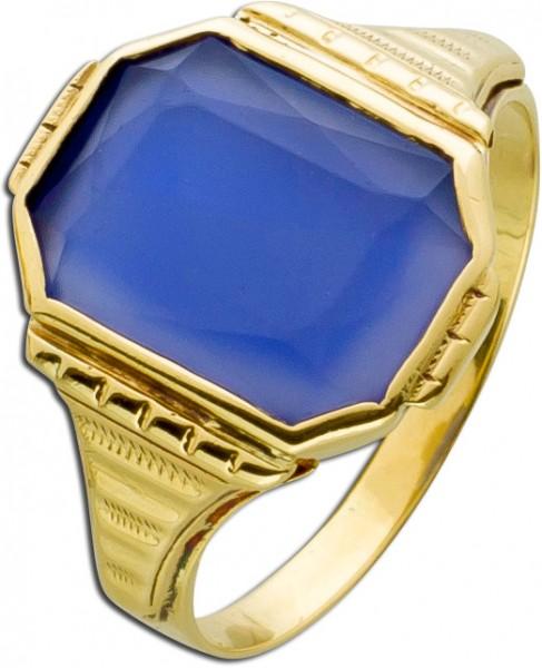 Herrenring antik Gelb Gold 585 blau viol...