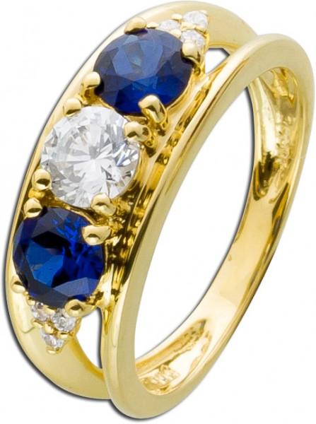 Blauer Gelb gold Ring 585 blaue weiße Z...