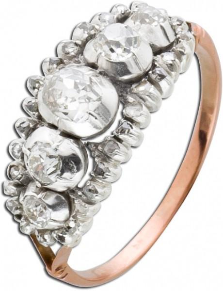 Antiker Brillantring Altschliff Diamanten Weiss Gold Rose Gold 585