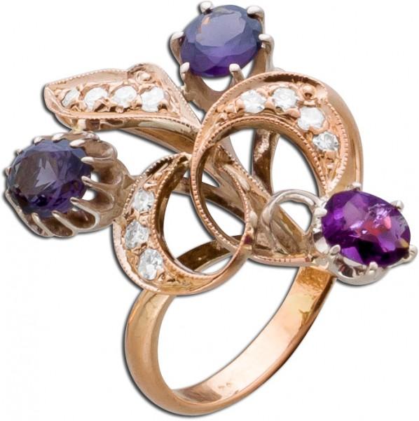Amethystring Antik Diamanten Rose Gold 5...