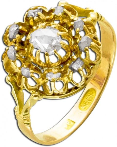 Antiker Diamantring Gelb Gold 585 Diaman...