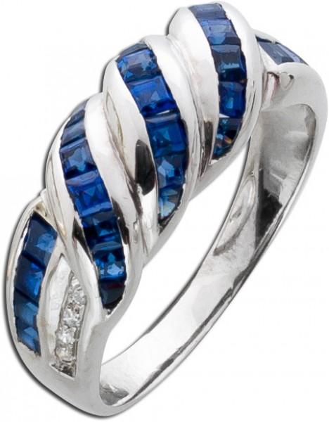 Antiker Saphir Diamantring Weiss Gold 75...
