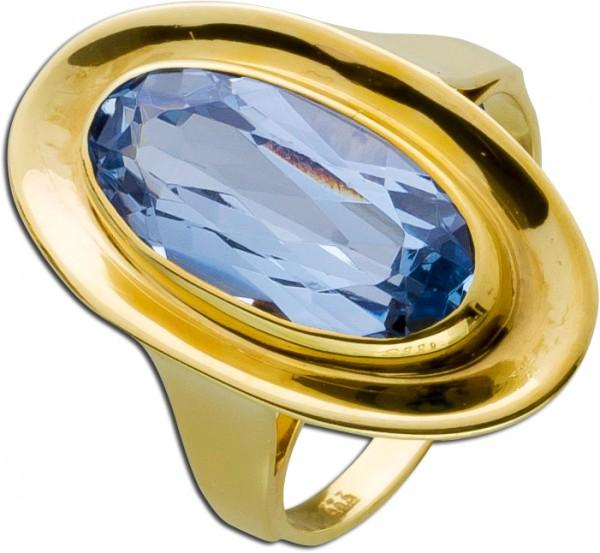 Blautopasring Gold 333 antik facettierte...
