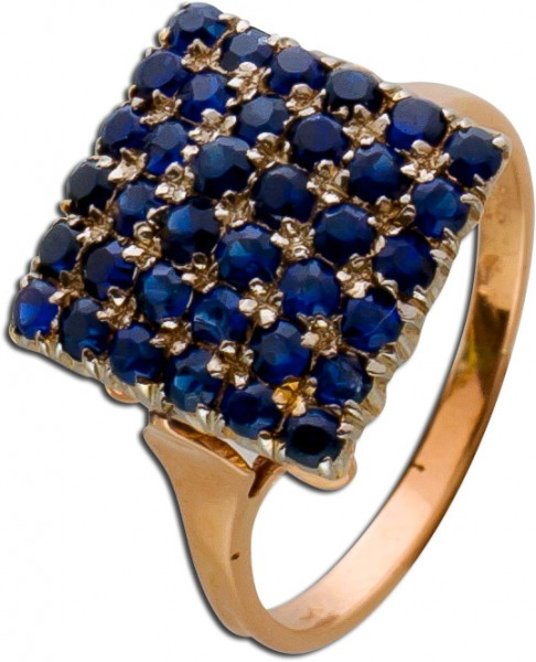 Saphir Ring Rosegold 585 dunkelblaue facettierte Saphire Weißgold Krappen antik
