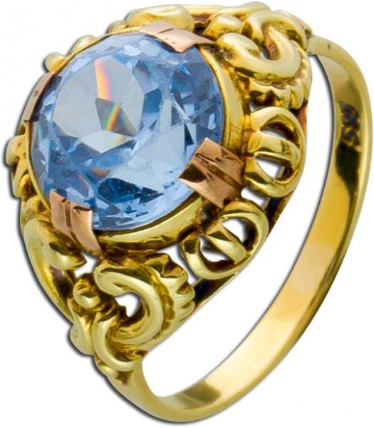 Blautopas Ring Gold 585 facettierter Bla...