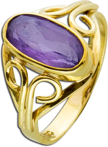 Antiker Ring Gold 333 violett facettiert...