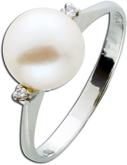 Weißgoldring 750 japanische Akoya Perle Diamanten Einzelstück
