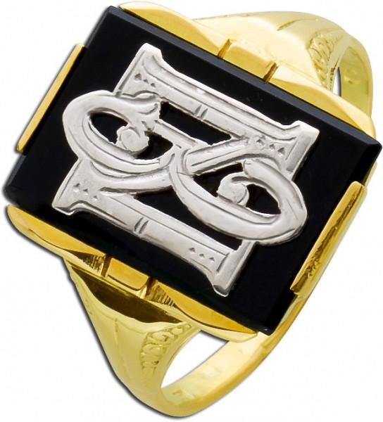 Antiker Siegelring Gelbgold 585 Onyx Pla...