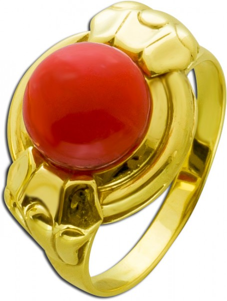 Goldring rote Koralle Cabochon Gelbgold ...
