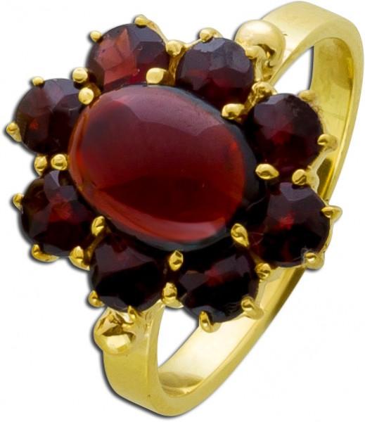Granat Ring Gelbgold 333 rot braune Granat Steine Antik 50er Jahre