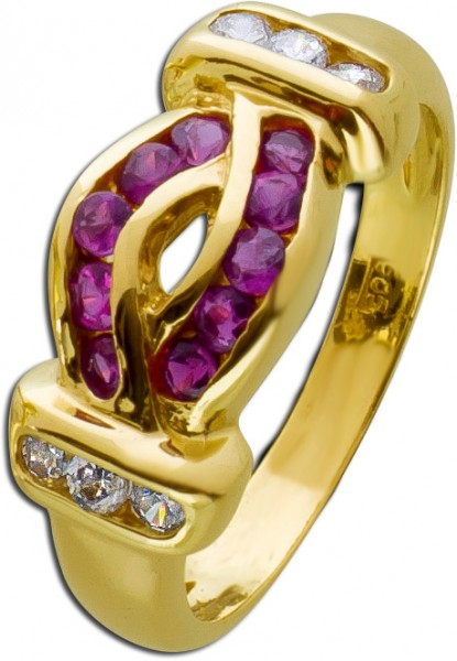 Brillant Ring roter Rubin Gelbgold 333 A...