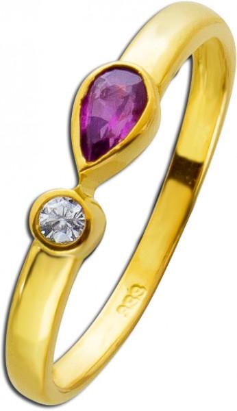 Rubin Ring Gelbgold 333 roter Navette Ru...