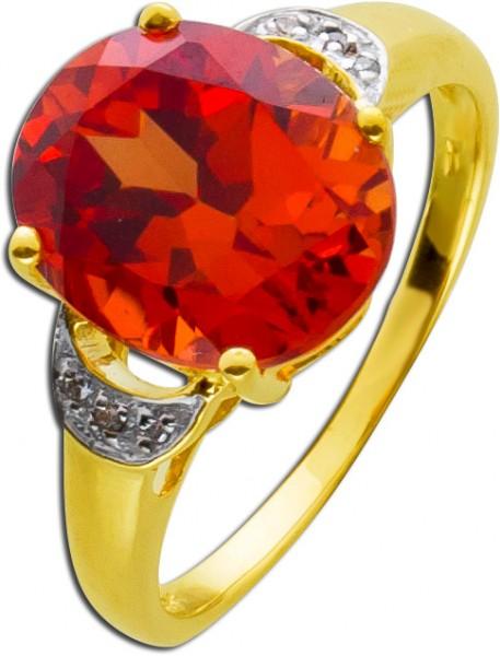 Padparadscha Orange Edelstein Ring Gelbg...
