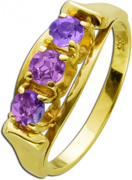 Flieder Amethyst Ring Gelbgold 585 Antik...
