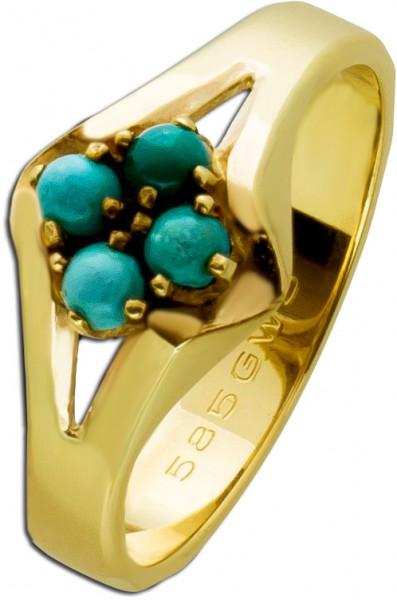Hellblauer Türkis Ring Gelbgold 585 Ant...