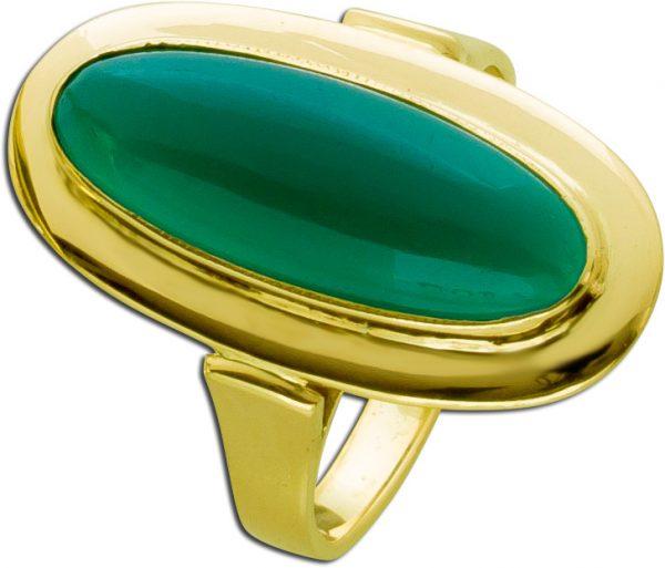 Grüner Jade Edelstein Ring Gelbgold 333...