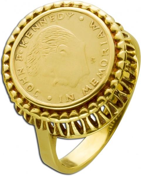Münzring Gelbgold 585 John F Kennedy Gedenkmünze Antik Goldring