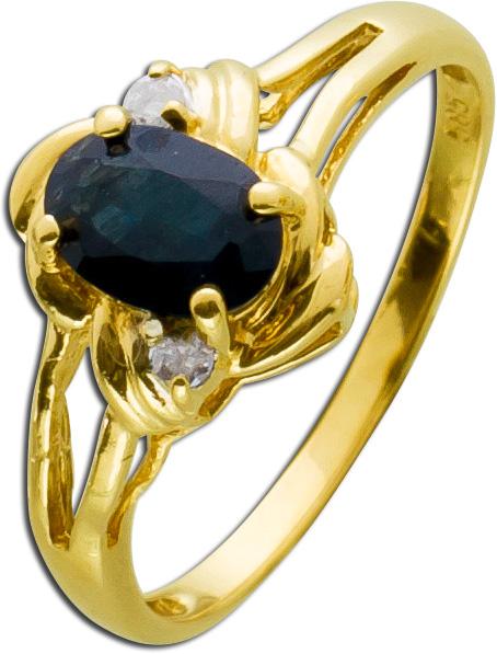 Dunkelblauer Saphir Ring Gelbgold 585 An...
