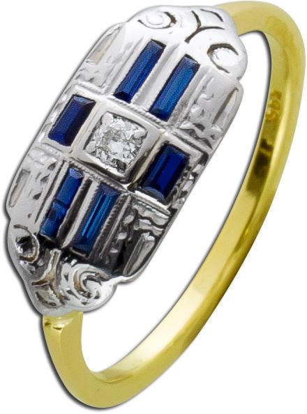 Diamant Ring Gold 585 Edelstein blau Sap...