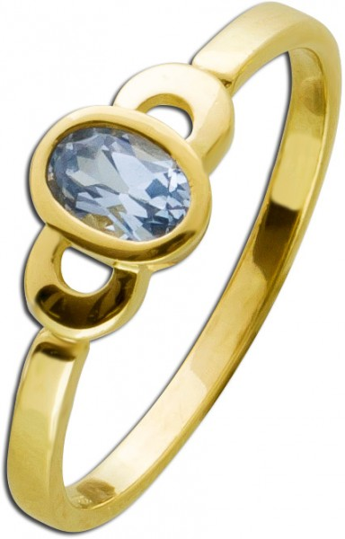 Blautopas Ring Gold 333 Edelstein hellbl...
