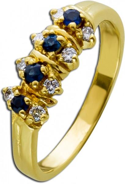 Diamantring Gold 585 Ring Brillant Edels...