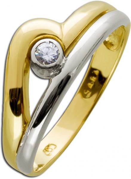 Brillant Ring Gold Gelbgold Weißgold 58...