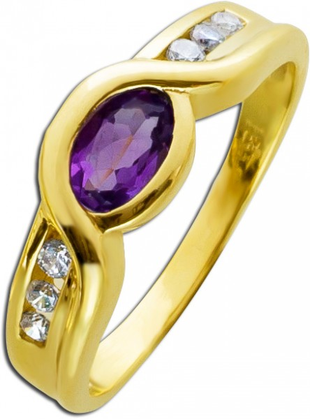 Amethyst Ring Gold 333 Edelstein lila tr...