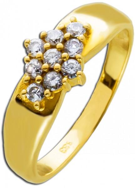 Ring Gold 333 weiße Zirkonia Raute Gold...
