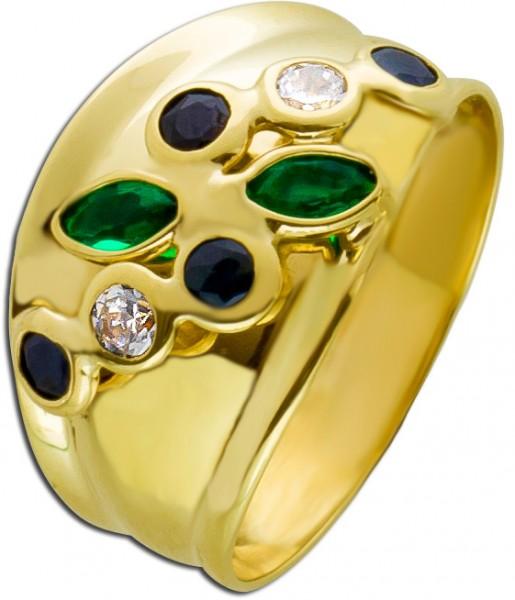 Ring Gold 333 modern blau grün weiß Zi...