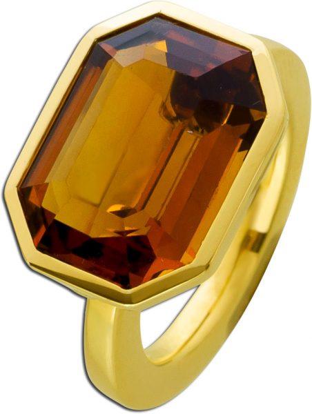 Citrin Ring Gold 750 Juwelier Jacobi antik Edelstein oktogon orange braun handgefertigt Einzelstück